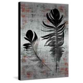 Parvez Taj - Black Feathers Painting Print on Brushed Aluminum