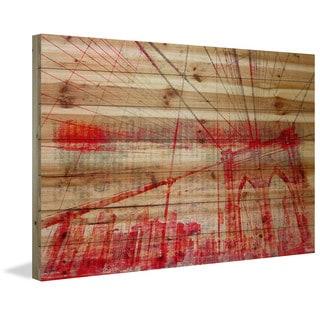 Parvez Taj - Brooklyn Bridge Painting Print on Natural Pine Wood