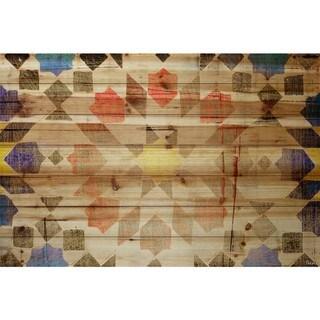 Handmade Parvez Taj - Geometric Bloom Print on Natural Pine Wood