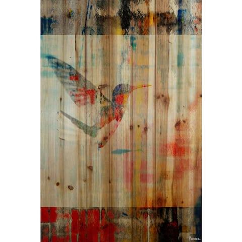 Handmade Parvez Taj - Humming Bird Flies Print on Natural Pine Wood