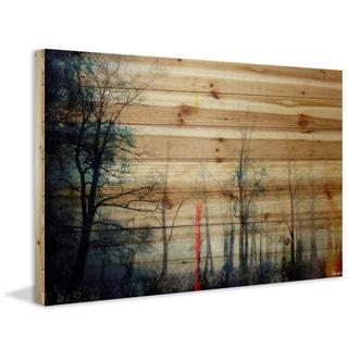 "Parvez Taj - ""Tall Tree Silhouette"" Painting Print on Natural Pine Wood"