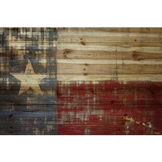 "Parvez Taj - ""Texas"" Painting Print on Natural Pine Wood"
