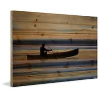 Parvez Taj - Canoe on Calm Lake Painting Print on Natural Pine Wood