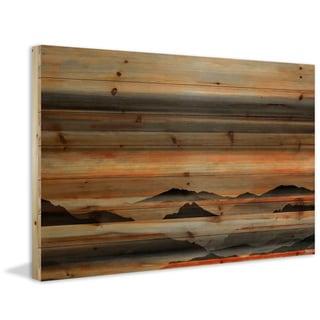 Parvez Taj - Desert Mountains Painting Print on Natural Pine Wood