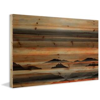 Handmade Parvez Taj - Desert Mountains Print on Natural Pine Wood