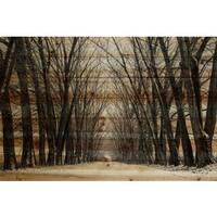 Parvez Taj - Tree Path Painting Print on Natural Pine Wood