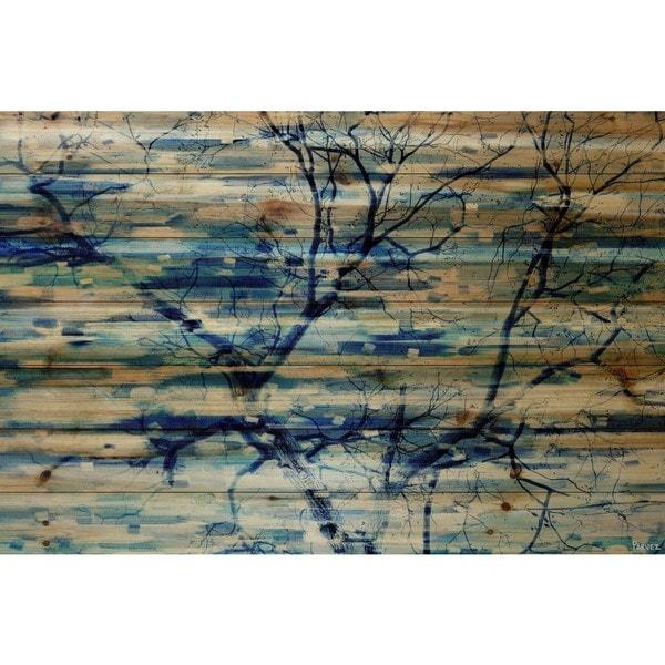 Handmade Parvez Taj - Trees in Blue Print on Natural Pine Wood