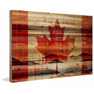Parvez Taj - Canadian Leaf Painting Print on Natural Pine Wood