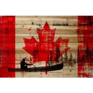Parvez Taj - Canadian Canoe Painting Print on Natural Pine Wood