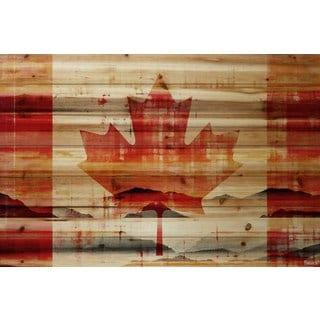 Parvez Taj - Faded Leaf Painting Print on Natural Pine Wood