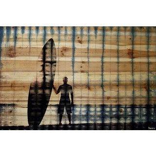 Parvez Taj - Surf at Dusk Painting Print on Natural Pine Wood