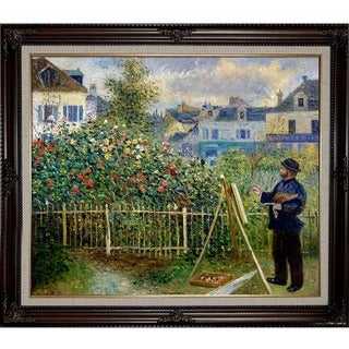 Pierre-Auguste Renoir 'Monet Painting in His Garden at Argenteuil, 1873' Hand-painted Framed Canvas Art