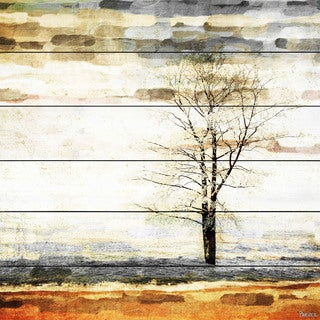 Parvez Taj - Lone Tree Painting Print on White Wood