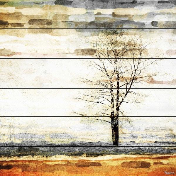 Handmade Parvez Taj - Lone Tree Print on White Wood