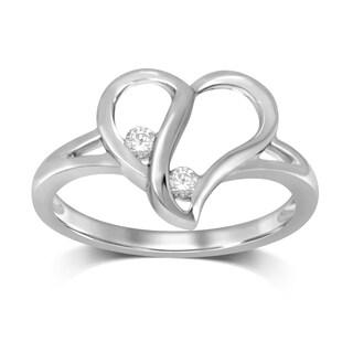 10k White Gold 1/10ct TDW Diamond Forever Us Two-Stone Heart Ring (IJ- I2 I3)