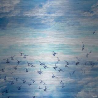 Parvez Taj - Meadow Flock Painting Print on Brushed Aluminum