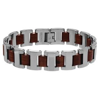 Territory Men's Tungsten Carbide Mahogany Link Bracelet