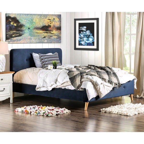 Furniture Of America Celene Mid Century Modern Tufted Full Bed Free Shipping Today Overstock
