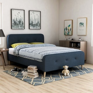 Furniture of America Celene Mid-century Modern Tufted Flannelette Full-size Bed