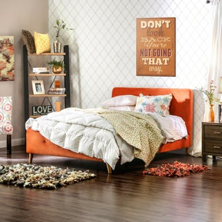 Furniture of America Celene Mid-century Modern Tufted Flannelette Queen-size Bed (Option: Orange)