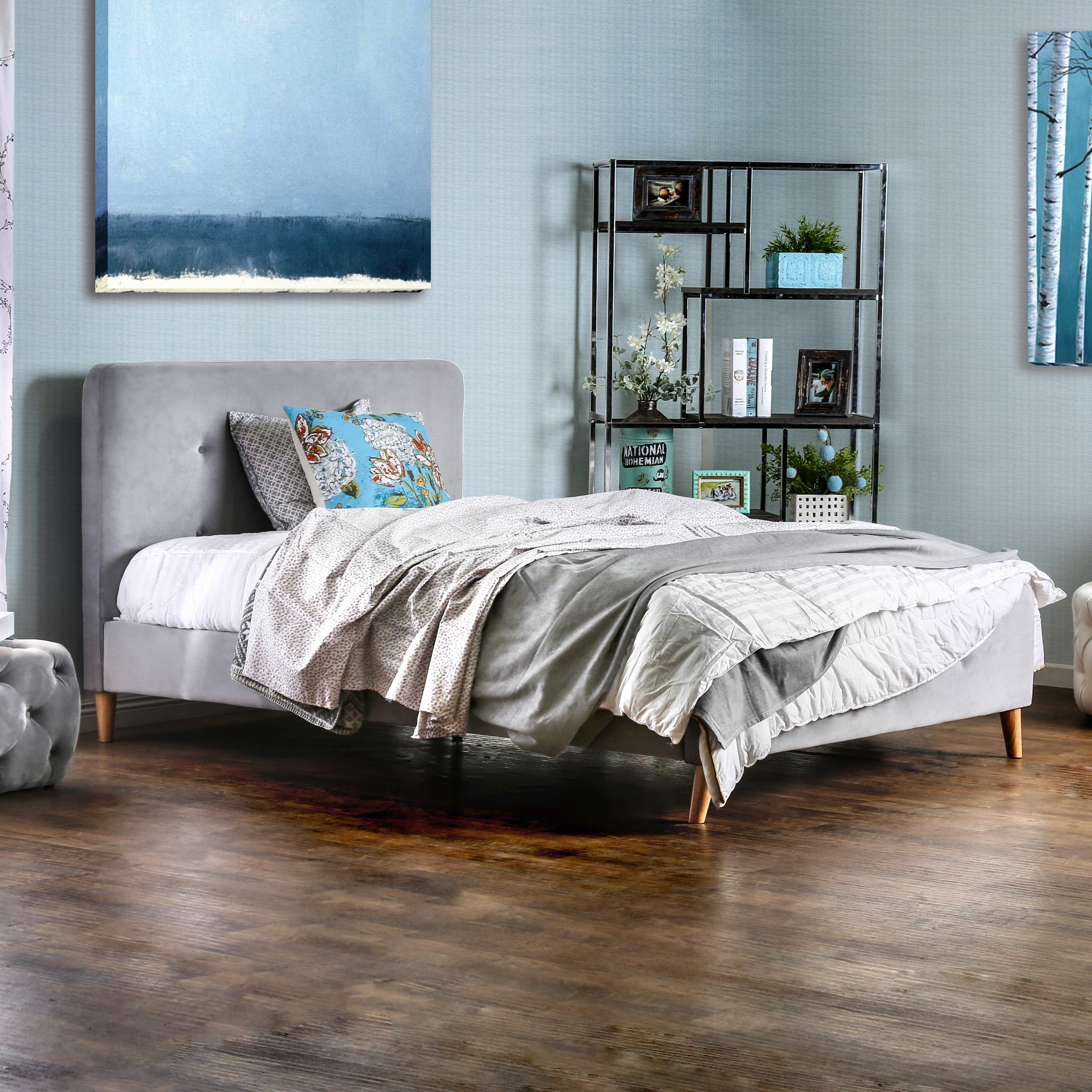 Furniture Of America Sise Mid Century Modern Twin Fabric Platform Bed On Sale Overstock 11090621