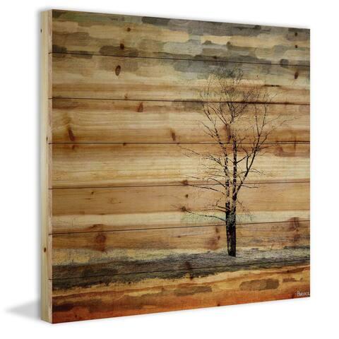 Handmade Parvez Taj - Tree Stands Alone Print on Natural Pine Wood