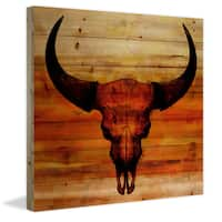 Parvez Taj - Burnt Sienna Skull Painting Print on Natural Pine Wood