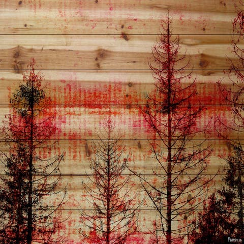 Handmade Parvez Taj - Red Enchanted Forest Print on Natural Pine Wood
