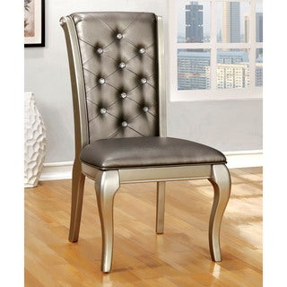 Furniture of America Mora Button Tufted Champagne Leatherette Dining Chair (Set of 2)