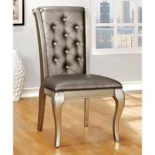 Furniture of America Valencia Crystal Tufted Faux Leather Champagne Gold Dining Chairs (Set of 2)