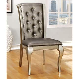 wooden dining room chairs. Furniture of America Mora Button Tufted Champagne Leatherette Dining Chair  Set 2 Wood Room Kitchen Chairs For Less Overstock com