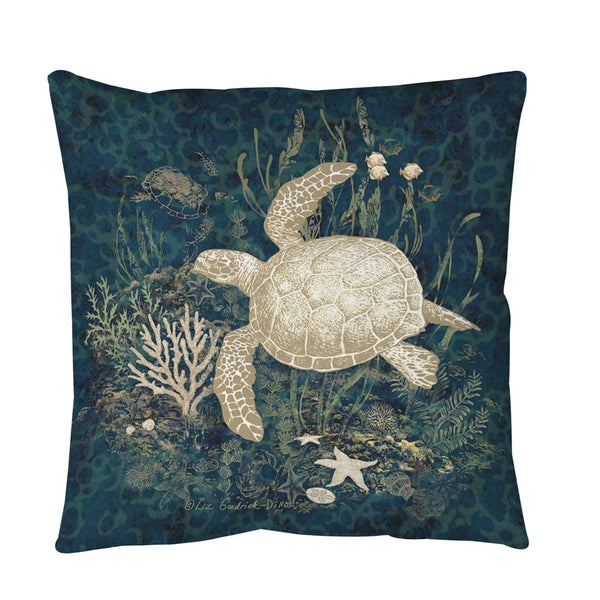 Sea Turtle Vignette Throw or Floor Pillow