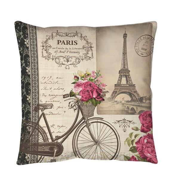 Springtime in Paris Bicycle Throw or Floor Pillow