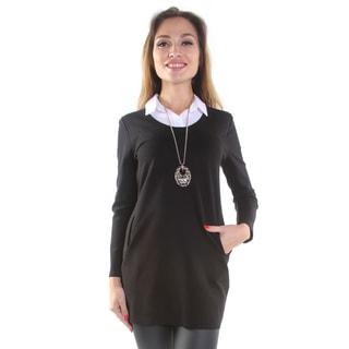 Hadari Women's Black Pullover Sweater with Collar