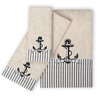 3 Piece Beach Cottage 100-percent Cotton Towel Set
