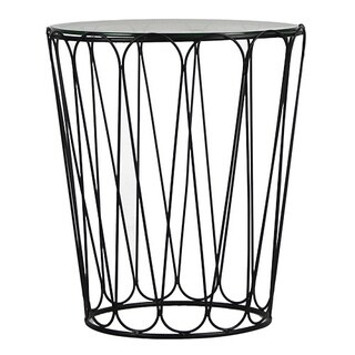 Adeco Home Black Garden Accent Metal End Table