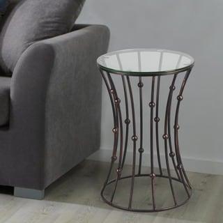 Adeco Accent Postmodernism Drum Shape Black Metal Coffee Table