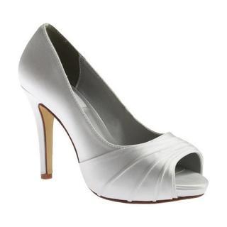 Women's Dyeables Bea Peep Toe Pump White Satin