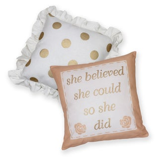 Shabby She Believed Cotton Decorative 18-inch Throw Pillows (Set of 2)