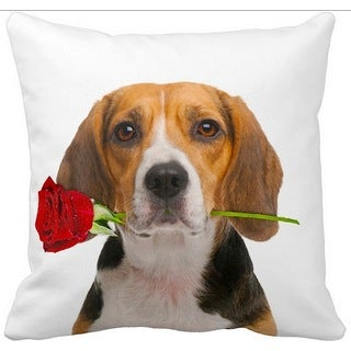 Beagle With a Rose 16-inch Throw Pillow