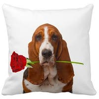 Basset Hound With a Rose 16-inch Throw Pillow