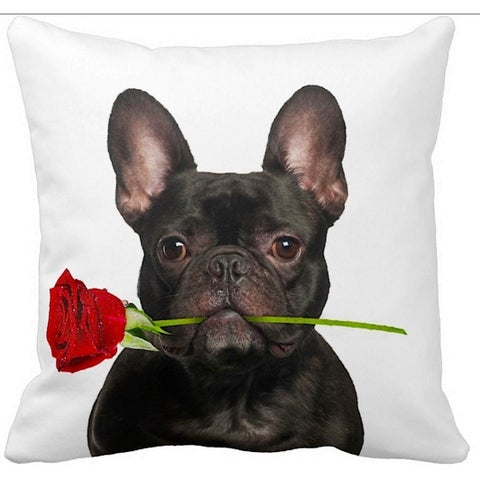 French Bulldog Black With a Rose 16-inch Throw Pillow