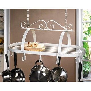 White Metal Hanging Pot Rack