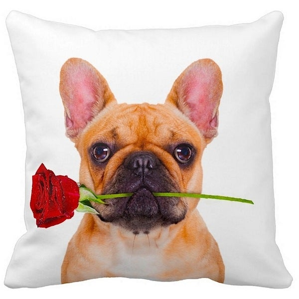 French Bulldog Fawn With a Rose 16-inch Throw Pillow