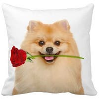 Pomeranian With a Rose 16-inch Throw Pillow