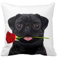 Pug Black With a Rose 16-inch Throw Pillow
