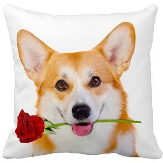 Welsh Corgi With a Rose 16-inch Throw Pillow