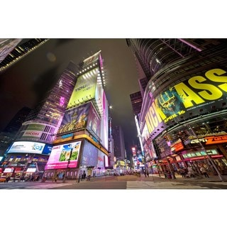 Selections by Chaumont Times Square at Night Glass Art