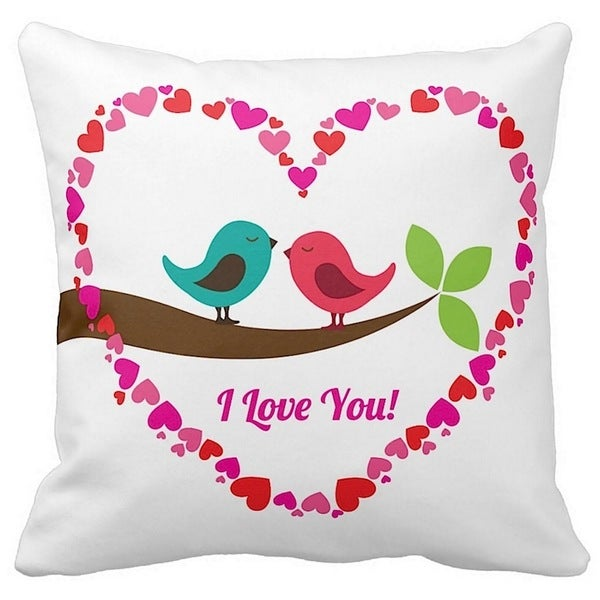 Valentine's Day I Love You Birds 16-inch Throw Pillow