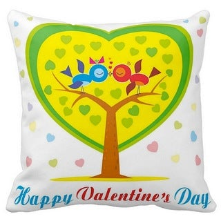 Happy Valentine's Day Tree of Love 16-inch Throw Pillow